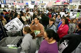 shoppers in crowded store